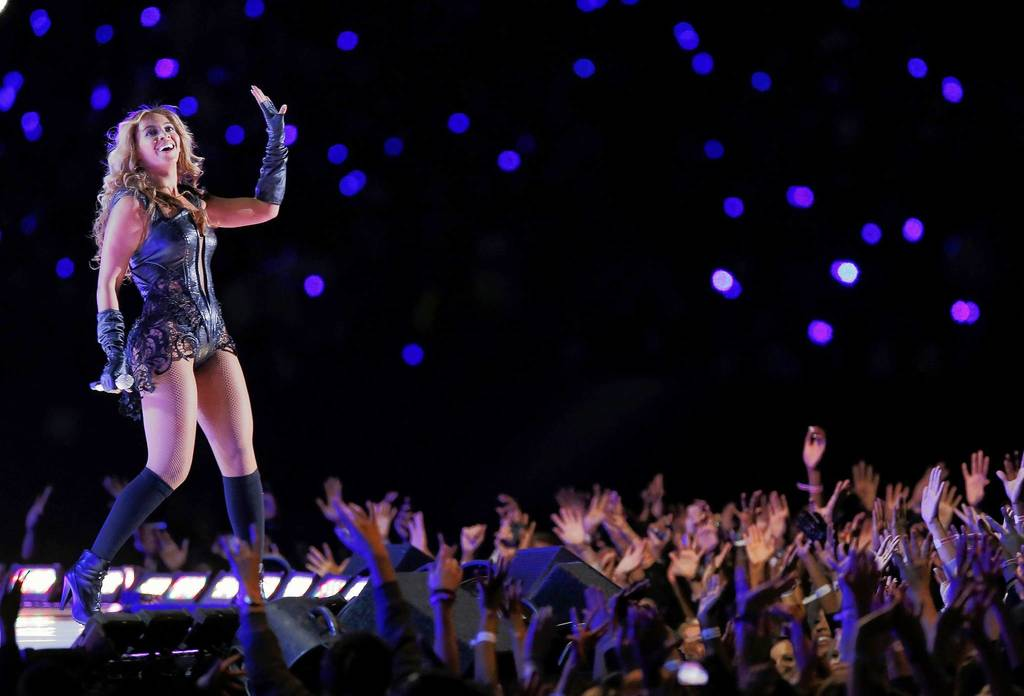 Beyonce performs during the halftime show in the NFL Super Bowl XLVII football game in New Orleans, Louisiana.