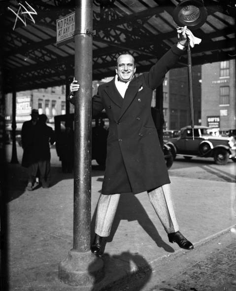 Actor Douglas Fairbanks in Chicago, February 6, 1933. Married to Mary Pickford, the couple was considered Hollywood royalty. Fairbanks hosted the first Oscars Ceremony in 1929.