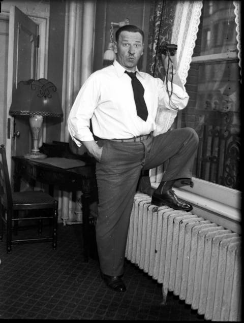 "Actor and movie star Wallace Beery at the Sherman Hotel in Chicago, March 30, 1931. Beery won the Academy Award for Best Actor in 1931 for ""The Champ"", in which he starred with Jackie Cooper. (The James R. Thompson Center now stands on the site of the Sherman Hotel)"