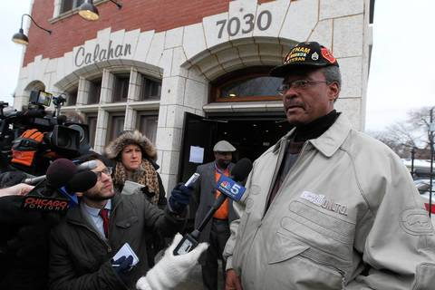 Nolen Cowley, grandfather of Hadiya Pendleton, talks to reporters outside the visitation for his granddaughter at Calahan Funeral Home located at 7030 S. Halsted St. in Chicago