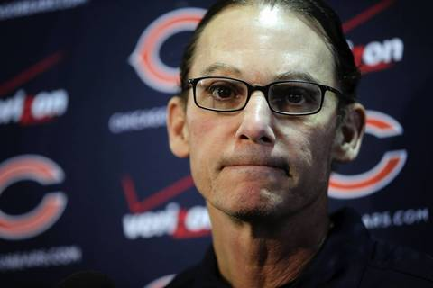 Bears head coach Marc Trestman speaks to the members of the media while introducing his coaching staff.
