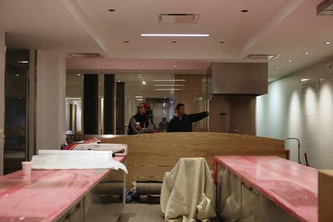 Curtis Duffy looks over the kitchen under construction at Grace on Nov. 3.