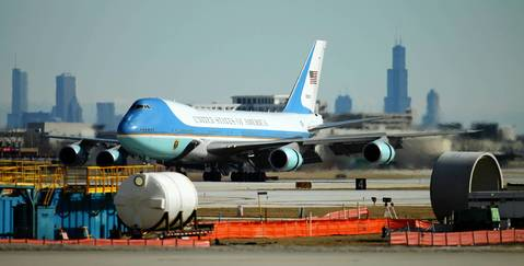 Air Force One touches down at O'Hare International Airport bringing President Barack Obama to visit Hyde Park Academy in Chicago.