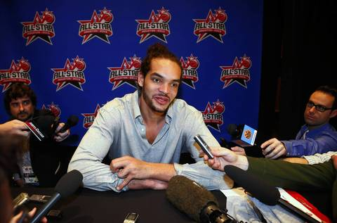 Joakim Noah answers questions during media availability on Friday.