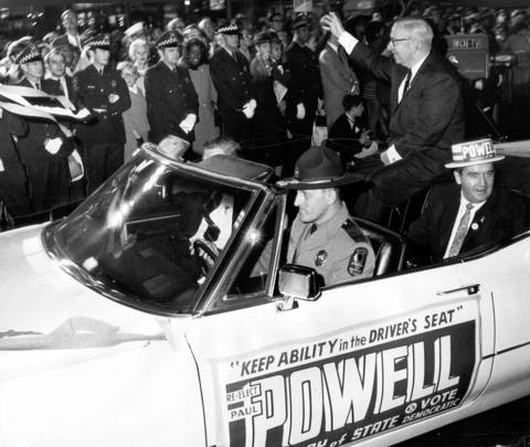 Illinois Secretary of State Paul Powell campaigning during the Humprey Parade on November 1, 1968.