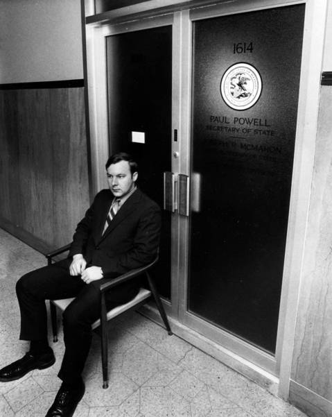 A guard sits outside the office of Secretary of State Paul Powell on October 12, 1970, after his death. Files had allegedly been taken from Powell's office after his death.