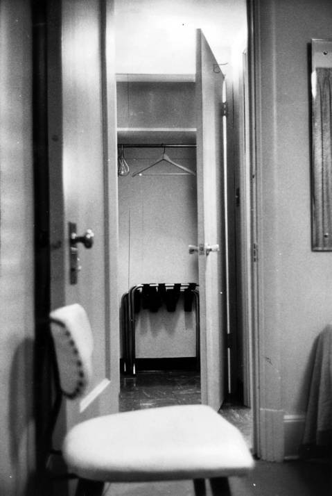 Paul Powell's room, number 546, in the St. Nicholas Hotel in Springfield on January 11, 1971. The closet is said to be where the famous shoebox was found containing $800,000 dollars after Powell's death.