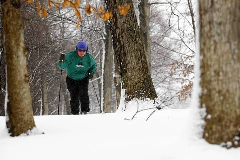 Mike Ryan, of Glencoe, skis on the golf course of the Lake Shore Country Club in Glencoe.