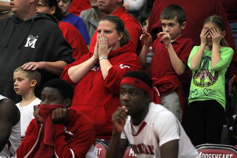 Mooseheart fans react in final seconds of 70-67 loss to Chicagoland Jewish during IHSA Class 1A sectional semifinal.