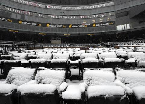 Opening day is getting nearer, but Chicago and U.S. Cellular Field are coated in snow.