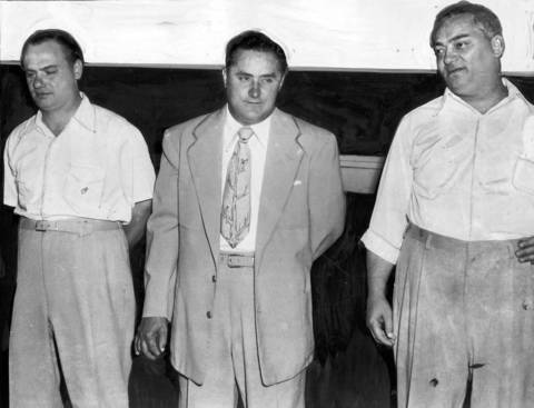 Policy Kings Fred Manno, from left, Nick Manno and Sam Manno, were accused of tax evasion and surrendered to the police in June of 1953.