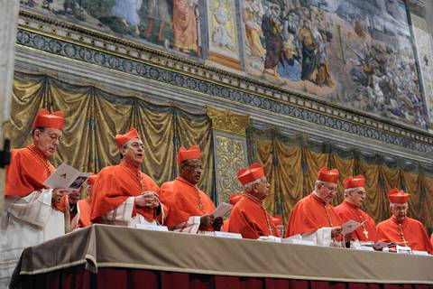 """Cardinals chant the Latin hymn """"Veni Creator Spiritus"""" (""""Come Creator Spirit"""") in the Sistine Chapel before the start of the conclave at the Vatican."""