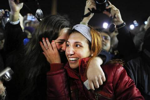 Argentinian women scream in St. Peter's Square as they listen to the announcement that the newly elected Pope will be Cardinal Jorge Mario Bergoglio of Argentina, who will take the name Pope Francis.