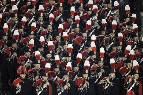A marching band perfroms before the introduction of Pope Francis at Peter's Basilica.