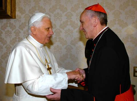 Pope Benedict XVI meets with the archbishop of Buenos Aires, Cardinal Jorge Mario Bergoglio, in 2007. Bergoglio replaces the frail Benedict XVI as leader of the world's 1.2 billon Catholics as tens of thousands cheer in St Peter's Square.
