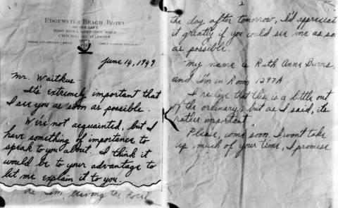 The note Ruth Steinhagen, 19, lured baseball player Eddie Waitkus to her Edgewater Beach Hotel room. It was delivered to Waitkus by a bell boy.