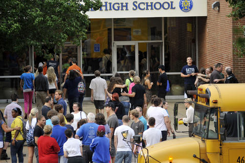 Students return for the second day of classes at Perry Hall High School.