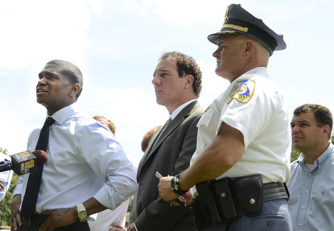 From left, Dallas Dance, Ph.D., Baltimore County School Superintendent; County Executive Kevin Kamenetz , and Baltimore County Chief of Police James W. Johnson hold a press conference in front of Perry Hall High School where a student was shot by another student on the first day of school.