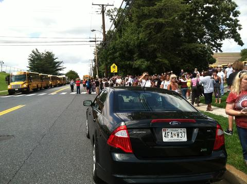 Students and parents outside of Perry Hall High School.