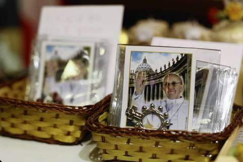 Merchandise depicting the newly elected Pope Francis is sold in a gift shop in Rome, Italy.