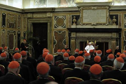 Pope Francis meets with the full College of Cardinals, electors and non-electors in the Clementine Hall of the Apostolic Palace in Vatican City, Vatican.