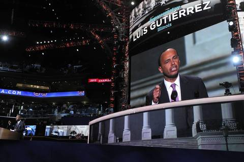 Illinois Congressman Luis Gutierrez makes remarks during the Democratic National Convention at Time Warner Cable Arena in downtown Charlotte, N.C.