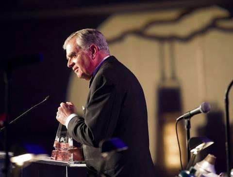 Transportation Secretary Ray LaHood receives an award at the Illinois Inaugural Gala at the Renaissance Washington Hotel in Washington D.C.