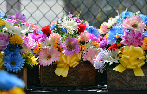 Hundreds of colorful silk Easter cemetery flowers glow on a partly sunny Friday afternoon at Rich Mar Florist on 2407 Easton Avenue in Bethlehem. .