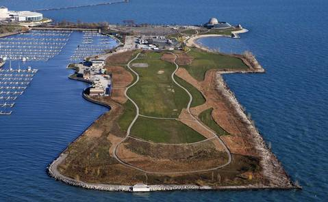 Northerly Island, site of the infamous 2003 Meigs Field demolition, begins to turn into a park in 2009.