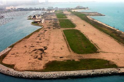An aerial photo of Meigs Field, looking north toward the Adler Planetarium, one year after the airport's runway was dug up in the middle of the night by city employees.
