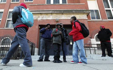 Ryerson Elementary School in Chicago as students leave at the end of the day. Ryerson will close, according to school board proposal, and students and faculty from nearby Laura S. Ward Elementary will move into the Ryerson building at 646 N. Lawndale.