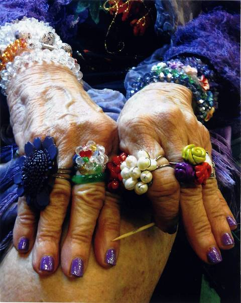 """""""Her Life is Art -- a woman who played piano at the Walnut Room at Marshall Fields (now Macy's), taught piano and sold music boxes now shows off her jewelry designs."""""""