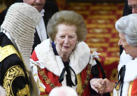 Former British prime minister Margaret Thatcher attends the State Opening of Parliament at the House of Lords in Westminster, London in 2010.