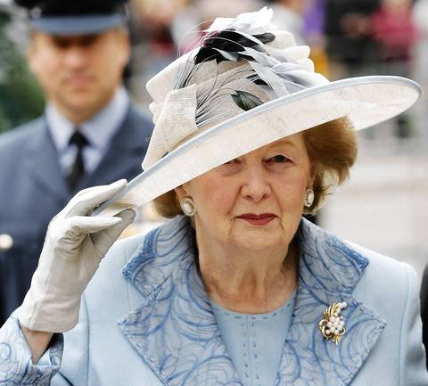 Former British Prime Minister Margaret Thatcher arrives in 2010 for a service of thanksgiving and re-dedication on Battle of Britain Sunday at Westminster Abbey in London.