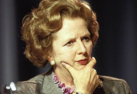 British Prime Minister Margaret Thatcher attends the Conservative Party Conference in Blackpool in 1987.