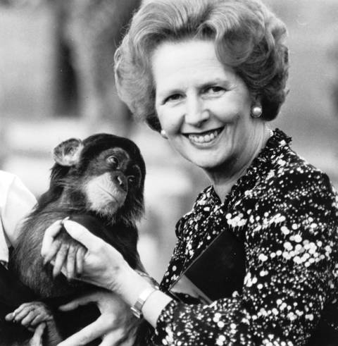 British Prime Minister Margaret Thatcher poses with a chimpanzee in an undated photo.