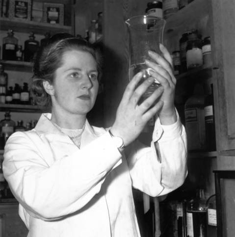 When not engaged in her political work in Dartford (Kent) Tory candidate, Miss Margaret Roberts, youngest candidate for the general election, is busy with her work as a research chemist in 1950. Margaret Roberts went on to become Prime Minister Margaret Thatcher.