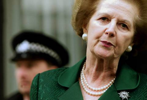 Former Prime Minister Baroness Margaret Thatcher talks to reporters outside her central London residence. Thatcher came out in support of former Chilean dictator General Augusto Pinochet, who was facing extradition to Spain for crimes committed after 1988.