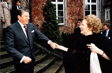 President Ronald Reagan bids farewell to British Prime Minister Margaret Thatcher after their bilateral meeting in Bonn, West Germany in 1985.