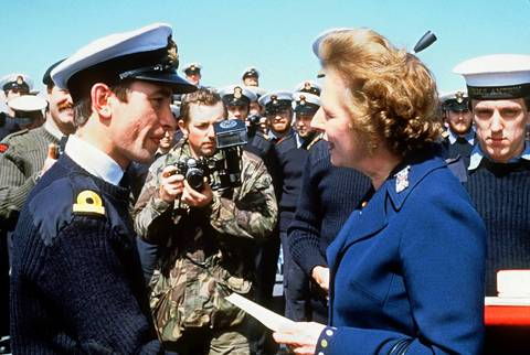 British Prime Minister Margaret Thatcher meets personnel aboard the ship HMS Antrim during her five-day visit to the Falkand Islands.