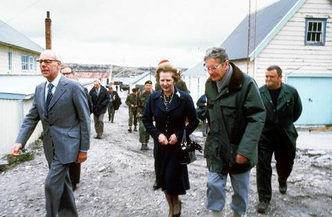 British Prime Minister Margaret Thatcher takes a tour of the Falkland Islands in 1983.