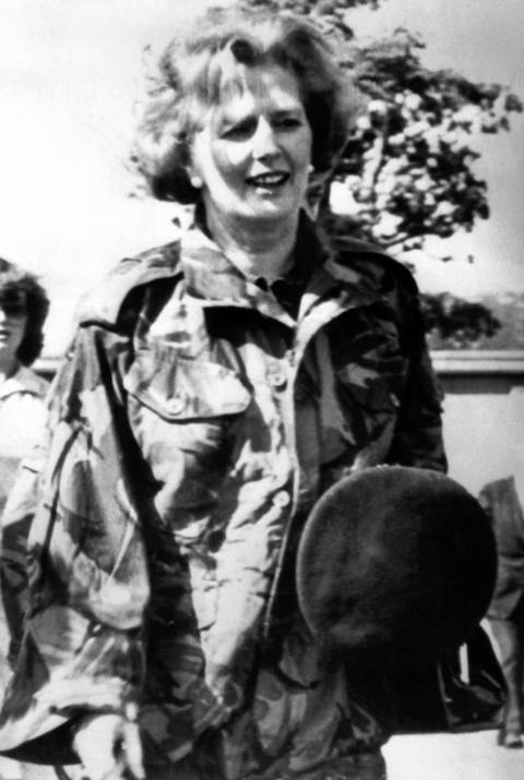 British Prime Minister Margaret Thatcher, dressed in an army combat jacket, ventures into frontline bandit territory of South Armagh in Northern Ireland in 1979.