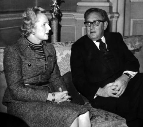 U.S. Secretary of State Henry Kissinger meets with Britain's Conservative Party's new leader, Margaret Thatcher, in London in 1974.