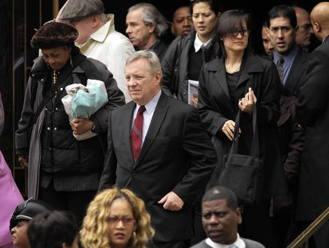 Sen. Dick Durbin leaves Roger Ebert's funeral at Holy Name Cathedral in Chicago.