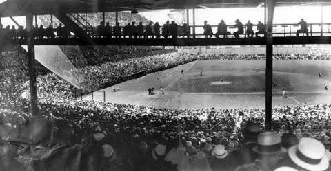 Cubs fans occupied every seat and overflowed on to Wrigley Field for a 1936 game against the Pirates.