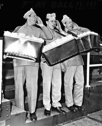 Wrigley vendors Albert Kohn, left, John Studnicki and Ben Kohn shot for a Chicago American photographer on Opening Day in 1953.