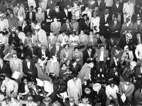 Fans cheered for Brooklyn Dodger players Jackie Robinson and Roy Campanella at a game in September of 1949.