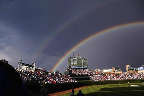 A rainbow forms before a Cubs- White Sox game at Wrigley Field in June 2008.