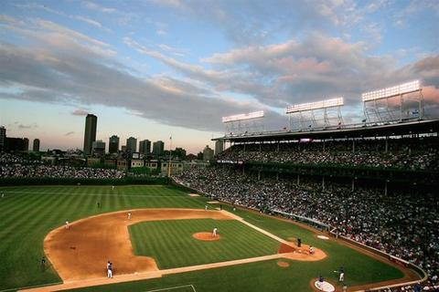 A beautiful sky on a June night at Wrigley in 2005 against the Florida Marlins.