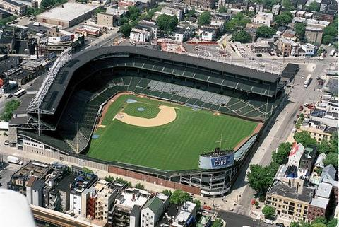 A 2002 aerial view of Wrigley